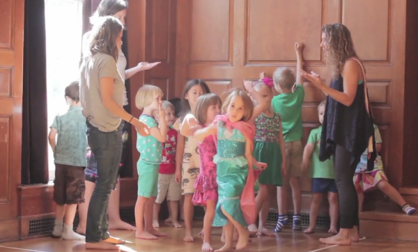Group of kids and teachers playing Magical Elevator