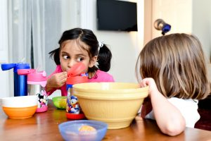 Kids eat, snack, healthy eating, games at the table