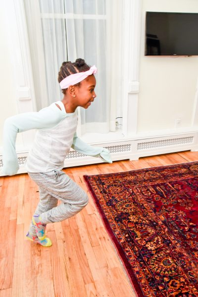 Girl running in the house