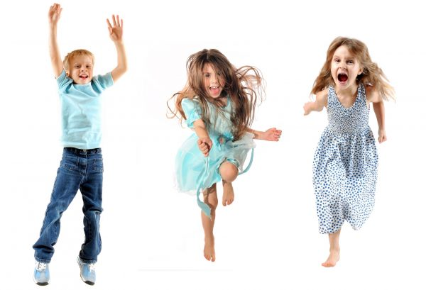happy children jumping and dancing
