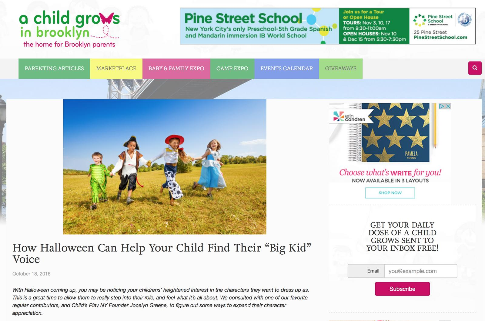 A Child Grows in Brooklyn Website Screenshot