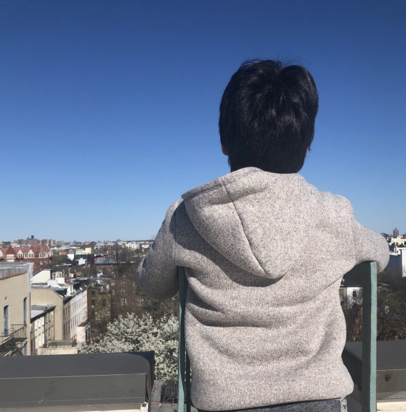 homeschooling and doing playtime on the roof