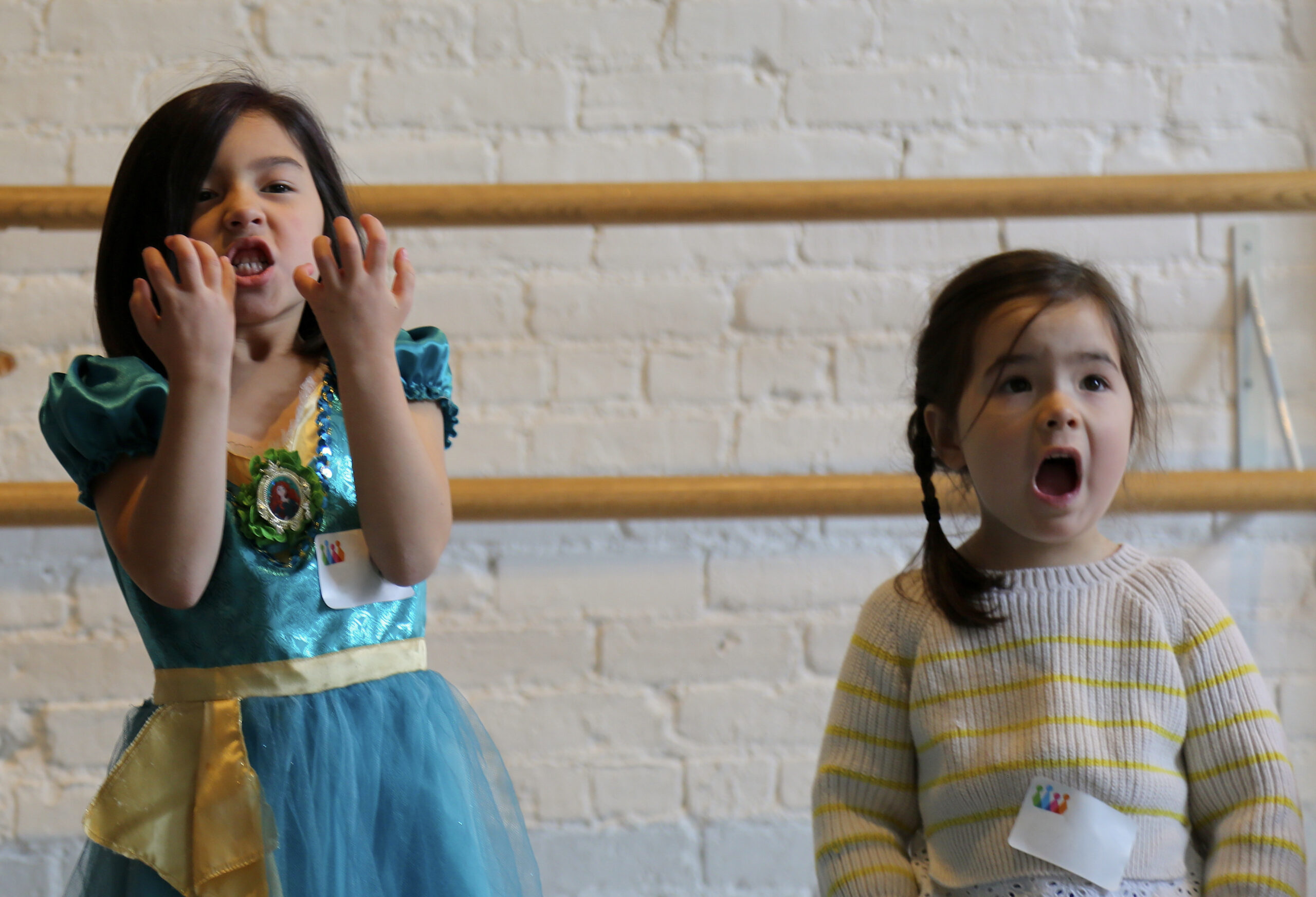Girls acting in a storytelling acting class